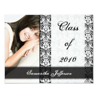 """Cualquie graduación formal blanca de la foto del invitación 4.25"""" x 5.5"""""""