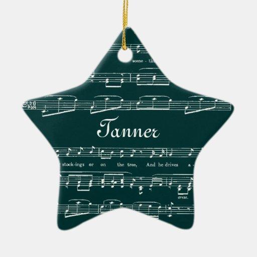 Cualquie hoja de música del vintage del fondo del  adorno de navidad