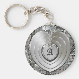 Cualquie llavero de plata inicial de los corazones