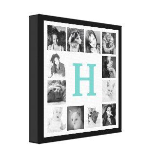 Cualquie monograma grande del color y 12 fotos de impresión en lona estirada