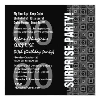 Cualquie negro moderno WhiteW1774 del cumpleaños Invitación 13,3 Cm X 13,3cm