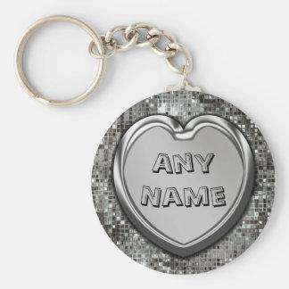 Cualquie nombre en el llavero de plata del corazón