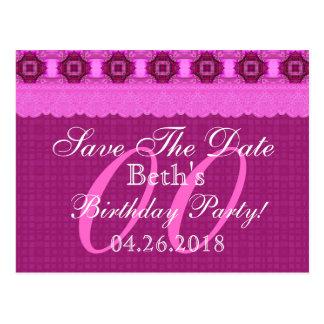 Cualquie reserva del cumpleaños del año el rosa postales