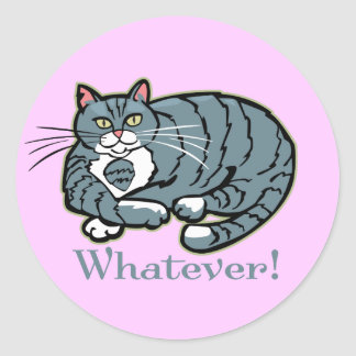 Cualquier gato pegatina redonda