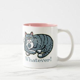 Cualquier gato taza de café de dos colores