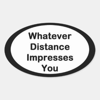 Cualquier pegatina corriente de la distancia