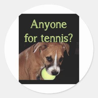 ¿Cualquier persona para el tenis? Pegatina Redonda