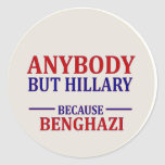 Cualquiera pero Hillary Pegatina Redonda