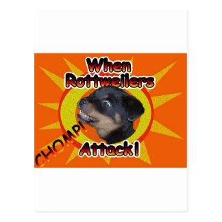 Cuando ataque de Rottweilers Postales