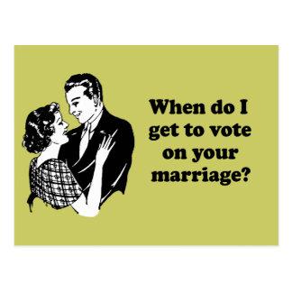 Cuando consigo votar sobre su boda tarjetas postales