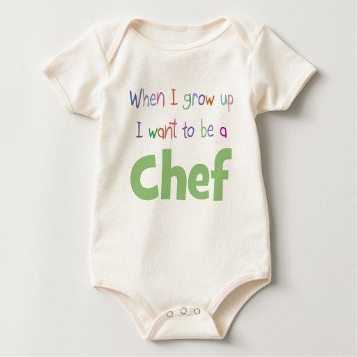 Cuando crezco al cocinero trajes de bebé