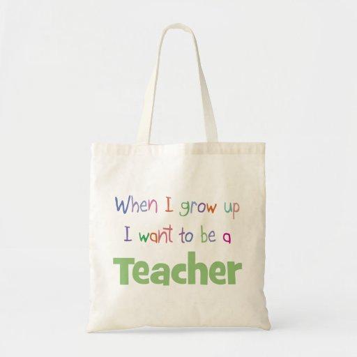 Cuando crezco al profesor bolsa tela barata