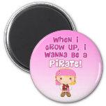 Cuando crezco, quiero ser pirata iman de nevera