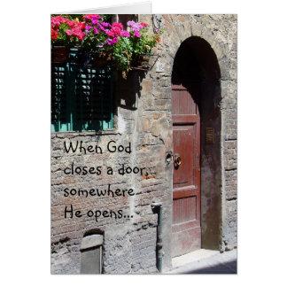 Cuando dios cierra una tarjeta de la puerta