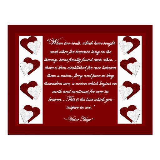 Cuando dos almas… Postal de la cita de Victor Hugo