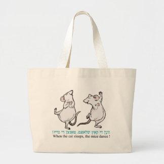"""""""Cuando duerme el gato, los ratones bailan """" Bolsa De Tela Grande"""