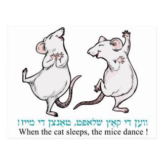 """""""Cuando duerme el gato, los ratones bailan """" Tarjetas Postales"""