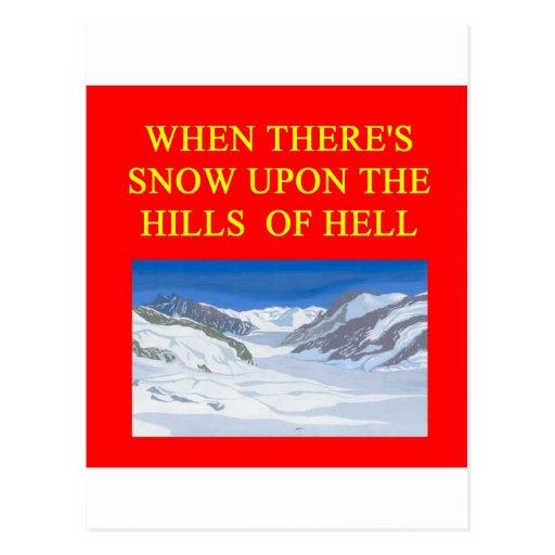 cuando el infierno congela encima postal
