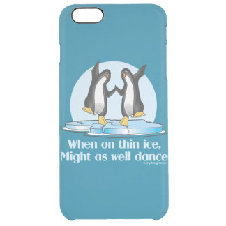 Cuando en diseño divertido de los pingüinos finos funda clearly™ deflector para iPhone 6 plus de unc
