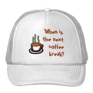 ¿Cuándo es el descanso para tomar café siguiente? Gorra