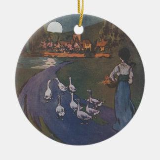 Cuando es noche trague en el ornamento de Borgoña Adorno Navideño Redondo De Cerámica