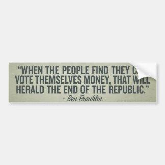 Cuando la gente se vota palillo del parachoque del pegatina para auto