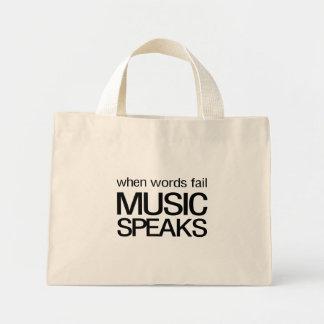 Cuando la música del fall de las palabras habla bolsa tela pequeña