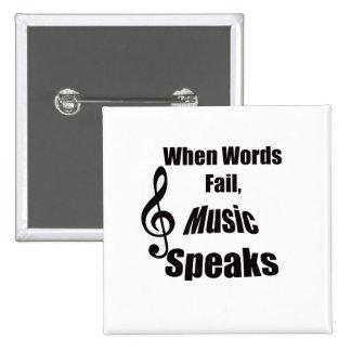 Cuando la música del fall de las palabras habla el pin cuadrado