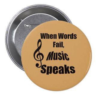 Cuando la música del fall de las palabras habla el pin redondo de 3 pulgadas
