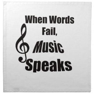 Cuando la música del fall de las palabras habla la servilleta