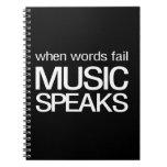 Cuando la música del fall de las palabras habla libretas