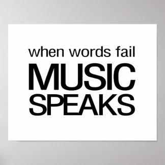 Cuando la música del fall de las palabras habla póster