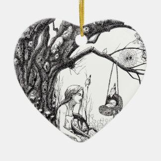 Cuando la rama se rompe adorno de cerámica en forma de corazón