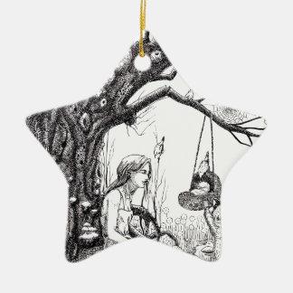 Cuando la rama se rompe adorno de cerámica en forma de estrella