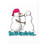 Cuando la vida da usted nieva tarjetas postales