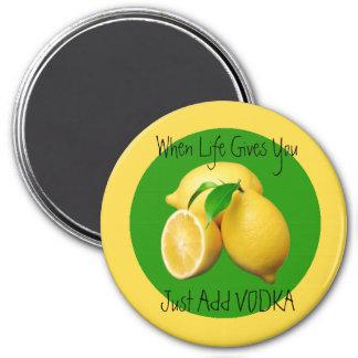 Cuando la vida dan humor de los limones y divertid imán redondo 7 cm
