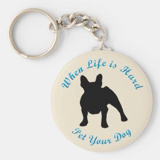 Cuando la vida es dura (el dogo francés) llavero redondo tipo pin
