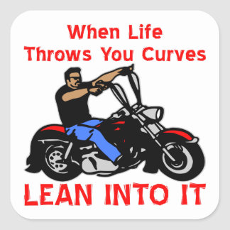 Cuando la vida lanza usted curva magro en él pegatina cuadrada