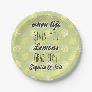 Cuando la vida le da los limones citan plato de papel 17,78 cm