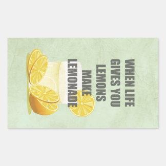 Cuando la vida le da los limones, haga las citas pegatina rectangular