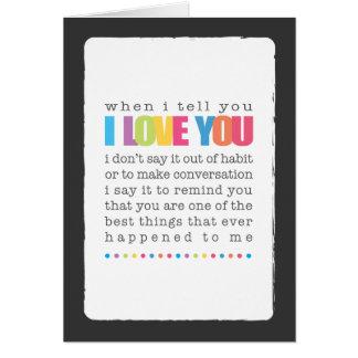 Cuando le digo te amo la tarjeta de felicitación