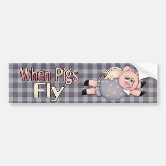Cuando los cerdos vuelan a la pegatina para el par etiqueta de parachoque