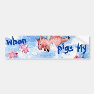 Cuando los cerdos vuelan a la pegatina para el par pegatina para auto