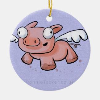 Cuando los cerdos vuelan adorno navideño redondo de cerámica