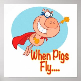cuando los cerdos vuelan al superhéroe que vuela e impresiones