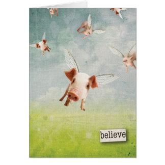 Cuando los cerdos vuelan - crea tarjeta de felicitación