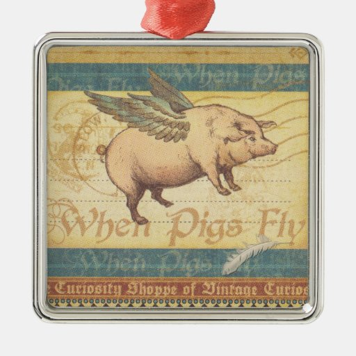 Cuando los cerdos vuelan ornamento para reyes magos
