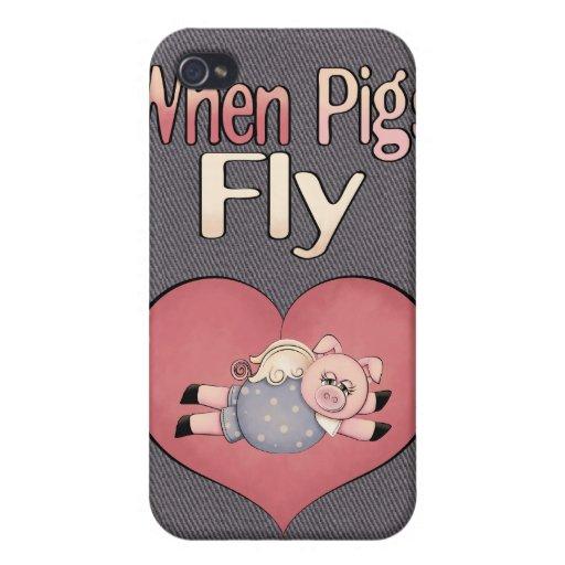 Cuando los cerdos vuelan el iPhone 4 de la caja de iPhone 4/4S Carcasa