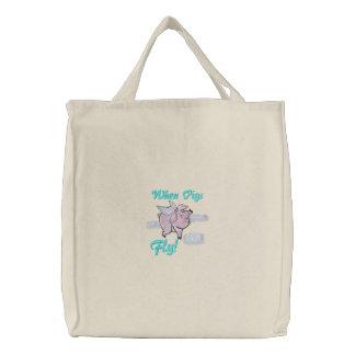 Cuando los cerdos vuelan guarro lindo bolsa de lienzo