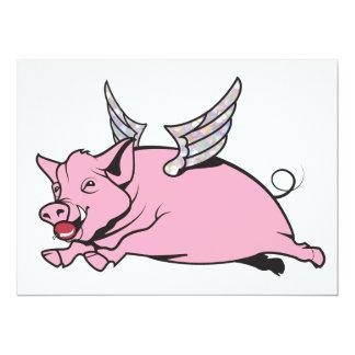 """cuando los cerdos vuelan invitación 5.5"""" x 7.5"""""""